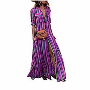 Boutique Dresses - Skittles Rainbow Boho Stripes Maxi Tunic Dress
